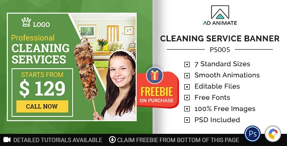 Professional Services   Cleaning Service Banner (PS005) - CodeCanyon Item for Sale