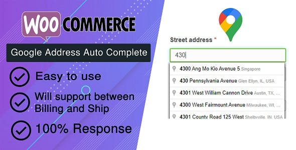 WooCommerce Checkout Google Address Auto Complete