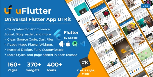 uFlutter - Universal Flutter UI Kit - Biggest Kit Widgets & Templates Multipurpose Flutter Apps