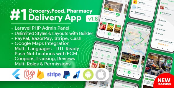 Grocery, Food, Pharmacy, Store Delivery Mobile App with Admin Panel