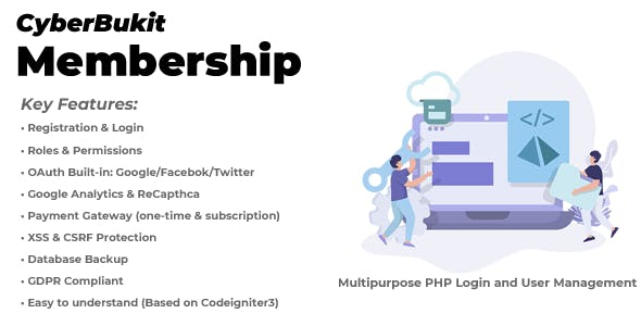 CyberBukit Membership - Multipurpose PHP Login and User Management with Payment, Front-End