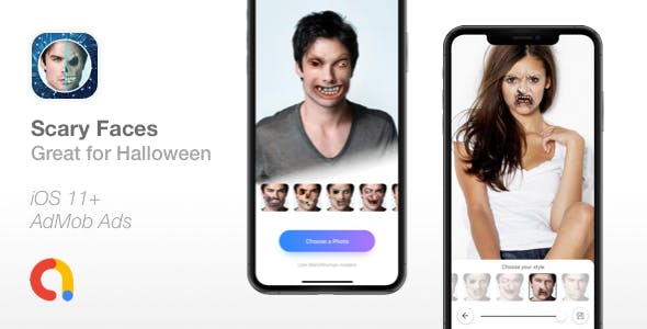 Scary Faces - Apply Face Morphing filters - Great for Halloween