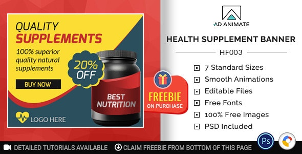 Health & Fitness   Health Supplement Banner (HF003) - CodeCanyon Item for Sale