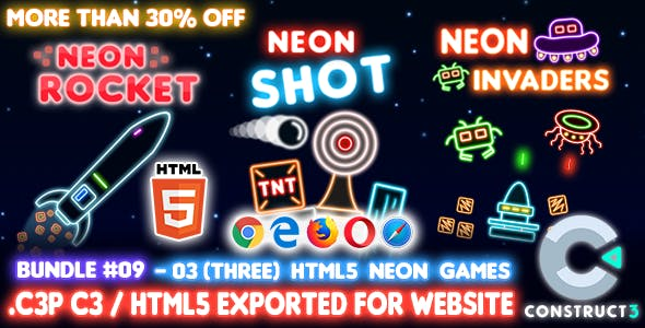 Game Bundle #09 – 03 (Three) HTML5 Neon Games (Construct 3 all source-code)