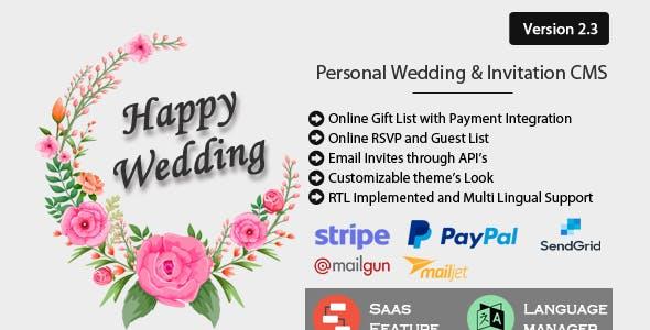 Happy Wedding - Personal Wedding & Invitation CMS
