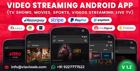 Video Streaming Android App (TV Shows, Movies, Sports, Videos Streaming, Live TV)