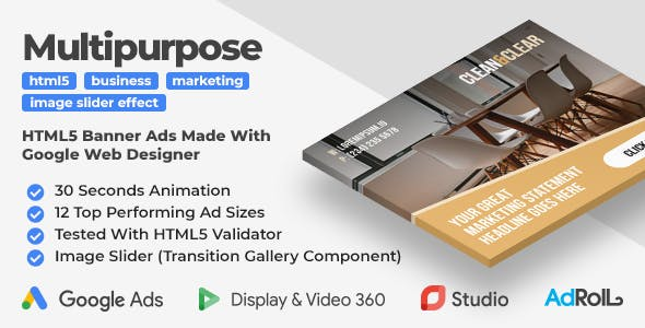 Clean & Clear - Multipurpose Animated HTML5 Banner Ad Templates (GWD)