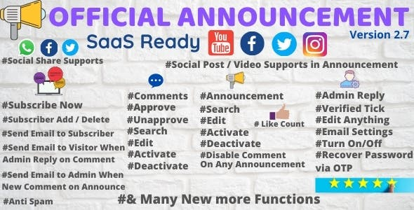 Official Announcement with Social Share, Post and Video with Subscribe Us and SaaS Ready