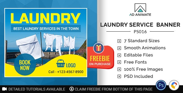 Professional Services | Laundry Service Banner (PS016) - CodeCanyon Item for Sale