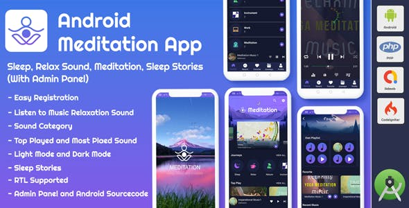 Android App Meditation & Relaxation Music with Admin Panel