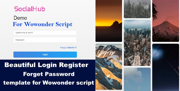 SocialHub Php Login & Registration Page Template For Wowonder Script