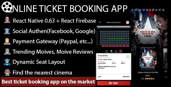 Online Movie Ticket Booking App - React Native - CodeCanyon Item for Sale