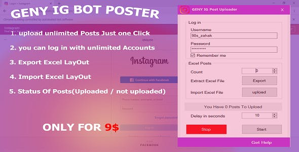 GENY Instagram Bot | Upload Unlimited Posts At Short Time