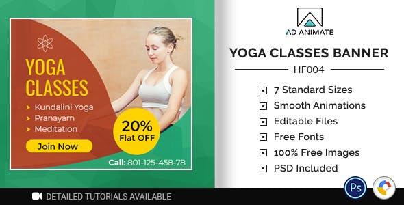 Health & Fitness | Yoga Classes Banner (HF004)