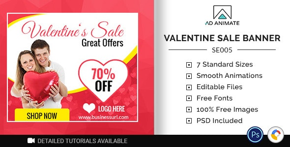 Shopping & E-commerce | Valentine Sale Banner (SE005) - CodeCanyon Item for Sale