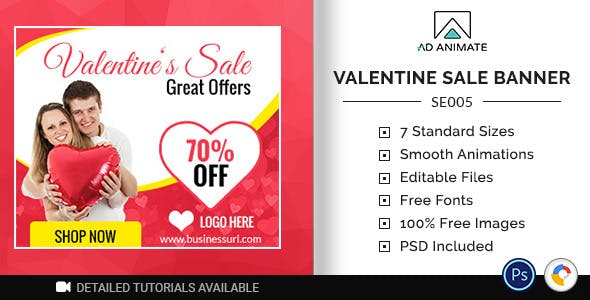 Shopping & E-commerce | Valentine Sale Banner (SE005)