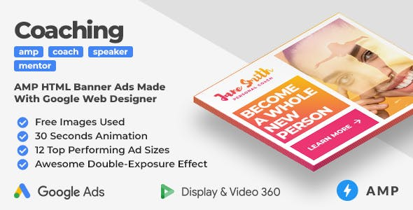 Coaching & Mentoring Animated AMP Banner Ad Templates With Double-Exposure Effect (GWD, AMP)
