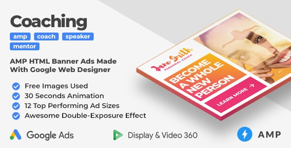 Coaching & Mentoring Animated AMP Banner Ad Templates With Double-Exposure Effect (GWD, AMP) - CodeCanyon Item for Sale