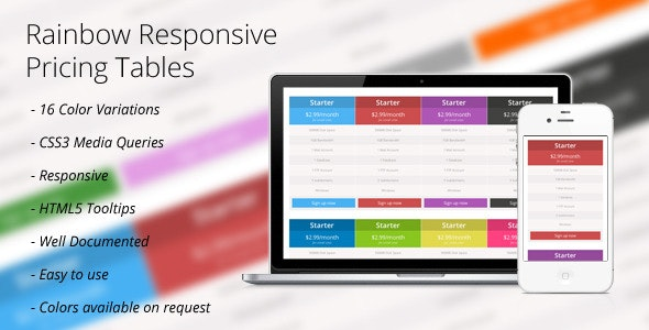 CSS3: Rainbow Responsive Price Tables - CodeCanyon Item for Sale