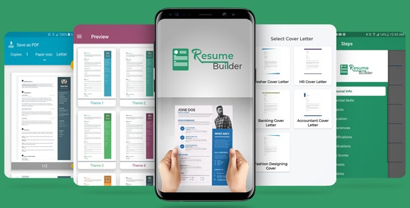 Resume / CV and Cover Letter Builder app with Admob ads - CodeCanyon Item for Sale