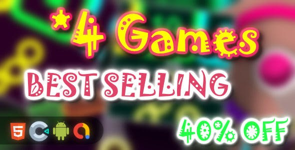 BEST Selling Games Bundle - 4 Games(Html5 + Construct 3 +Mobile)