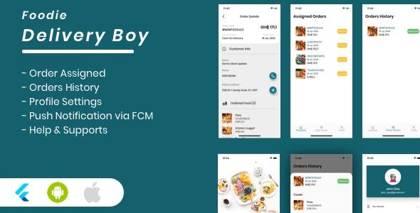 Foodie Delivery Boy For Foodie Multi-Restaurants Flutter App