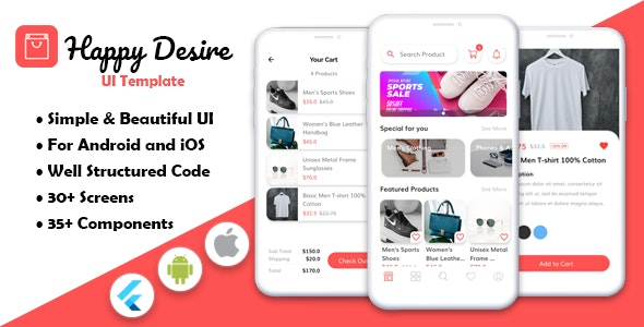 Happy Desire - Flutter Ecommerce App Template - CodeCanyon Item for Sale