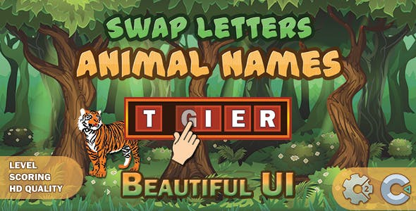 Swap Letters - Animal Names (Construct 2 | Construct 3 | HTML5 Game)