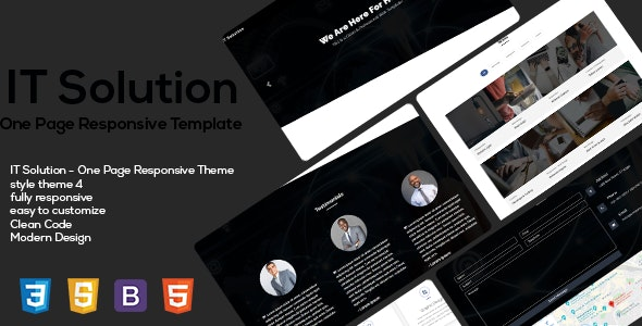 IT Solution One Page Responsive HTML5 Templates - CodeCanyon Item for Sale