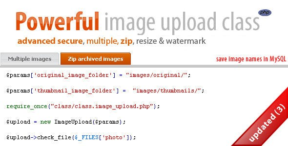 Secure multiple, zip image upload & manipulation