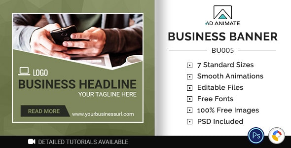 Business Banner - HTML5 Ad Template (BU005) - CodeCanyon Item for Sale