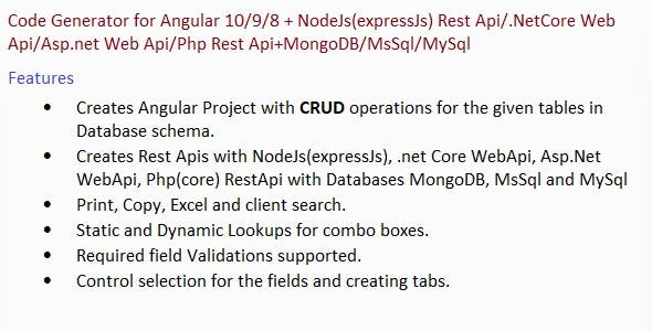 Code Generator for Angular 10/9/8+Apis NodeJs/.Net Core/Asp.net/Php+Databases MongoDB/MsSql/MySql