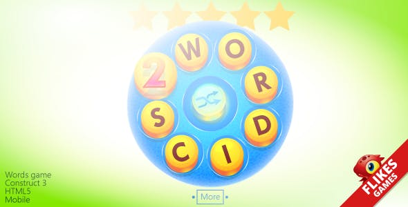 Wordics 2 - Construct 3 Template words game + mobile/HTML5