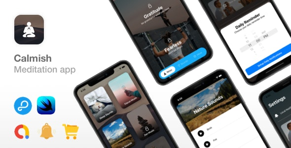 Calmish - Meditation & Relaxation SwiftUI app - iOS 14 ready - CodeCanyon Item for Sale