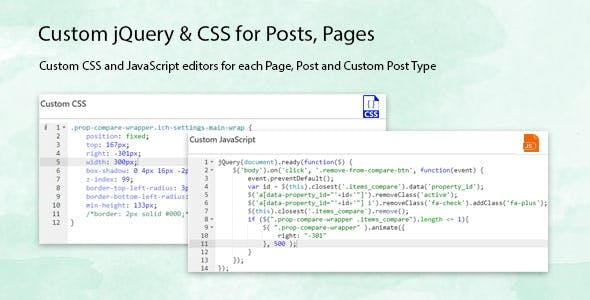 Custom jQuery & CSS for Posts, Pages