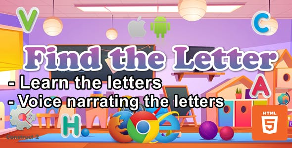 Find The Letter for kids - Educational Game - HTML5 (.Capx)