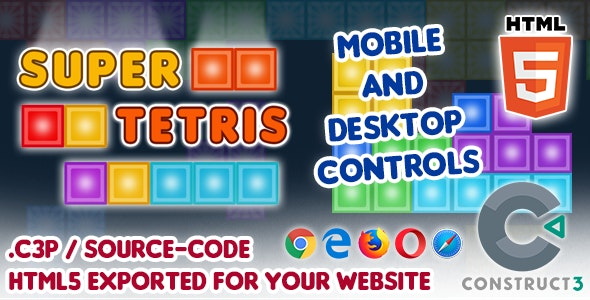 Super Tetris - HTML5 Construct 3 Game with Source-code - CodeCanyon Item for Sale