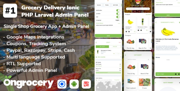 Grocery ecommerce delivery app with admin panel | Android | Ios - CodeCanyon Item for Sale