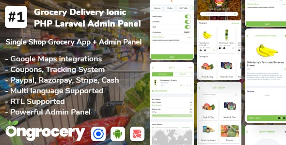 Grocery ecommerce delivery app with admin panel | Android | Ios