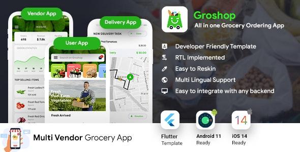 Grocery Flutter App Template | 3 Apps | User App + Seller App + Delivery App | GroShop - CodeCanyon Item for Sale