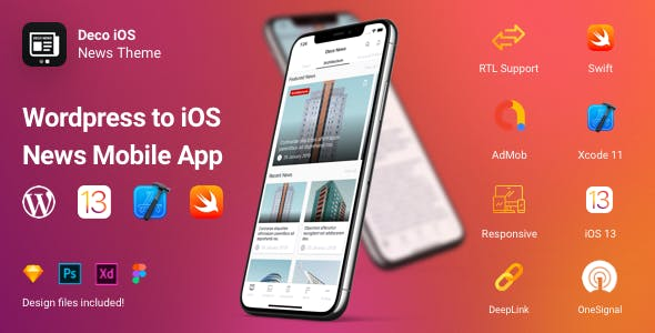 Deco News - iOS Mobile App for Wordpress - Swift, Xcode