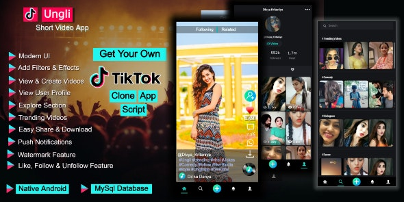 Ungli Short Video Creating App - Tiktok Clone App Code - CodeCanyon Item for Sale