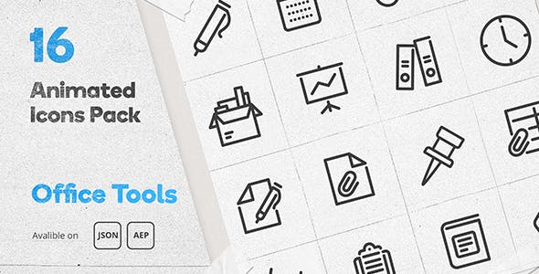 Office Tools Animated Icons Pack - Lottie Json Animation SVG