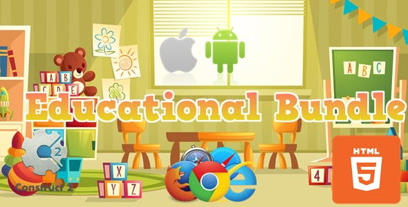 Educational Bundle - 7  Educational Games HTML5 (.Capx)