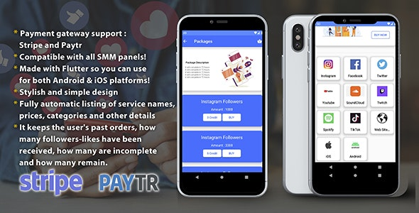 SMM Panel - Sell Social Media Follower&Like - Stripe - Android&iOS - CodeCanyon Item for Sale