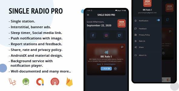 Single Radio Pro | Radio App with Admin Panel