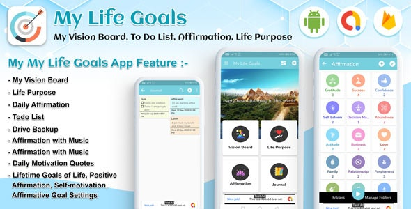 Android My Life Goals - My Vision Board, To Do List, Affirmation, Life Purpose, Goal tracker - CodeCanyon Item for Sale