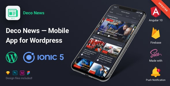 Deco News - Ionic 5 Mobile App for Wordpress, Angular 10, Sass, Firebase, AdMob, OneSignal - CodeCanyon Item for Sale