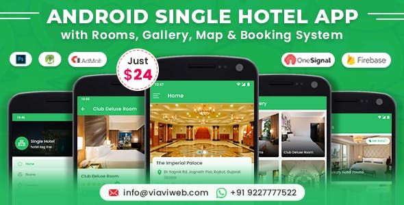 Android Single Hotel Application with Rooms, Gallery, Map & Booking System