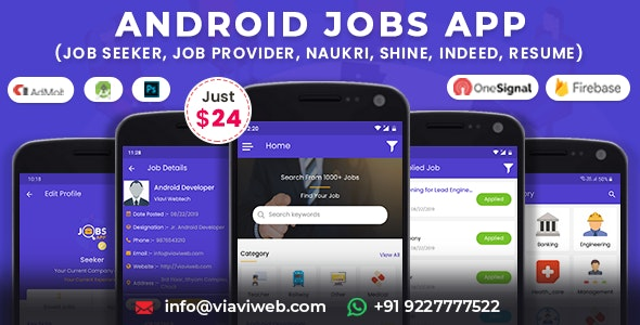 Android Jobs App (Job Seeker, Job Provider, Naukri, Shine, Indeed, Resume) - CodeCanyon Item for Sale